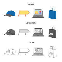 Baseball cap, pointer in hands, laptop, shopping bag.Advertising,set collection icons in cartoon,outline,monochrome style vector symbol stock illustration web.