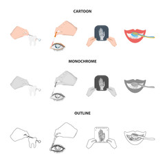 Examination of the tooth, instillation of the eye and other web icon in cartoon,outline,monochrome style. A snapshot of the hand, teeth cleaning icons in set collection.