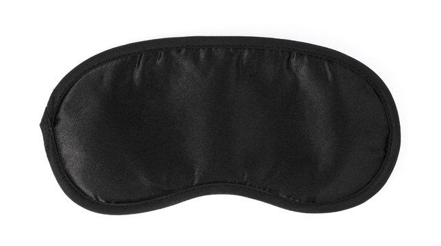 Black sleeping mask isolated on a white background.