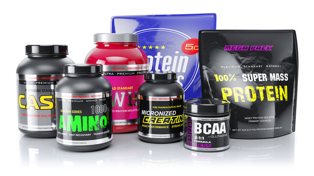 Sports nutrition. Whey, BCAA, protein, amino. 3d render