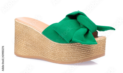 1a736f596b4 Women s wedge sandals isolated on a white background