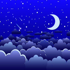 Night sky with clouds and stars, and moon crescent, landscape dark blue, vector