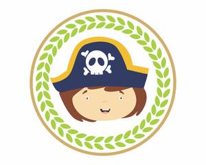 funny adorable kids head facepirate seaman sea robber sailor cartoon character