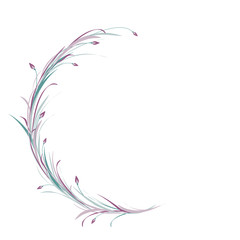 Violet and blue round wreath from grass, twigs and lilac flowers isolated on white