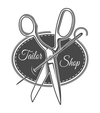 Vintage monochrome tailor shop logotype