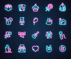 Set of 20 neon icons for music, holiday, romantic, birthday, party theme. Illuminosity labels isolated on black. Advertising led logo. Interface, setting and game ui ux element. Vector illustration