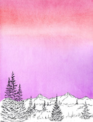 watercolor painted background with black ink  panoramic view