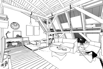 My place under the roof 02 (drawing)