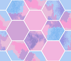 Watercolor seamless pattern of pastel hexagons. Vector geometric texture for background. Abstract modern illustration.