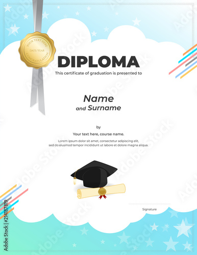 Kids Diploma Or Certificate Template With Colorful Background Stock