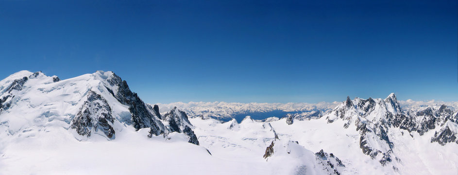snowcapped mountain peaks at Chamonix