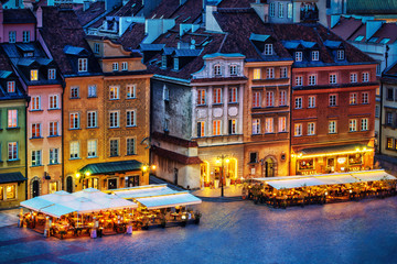 Warsaw Old Town In Evening Time with Lights On