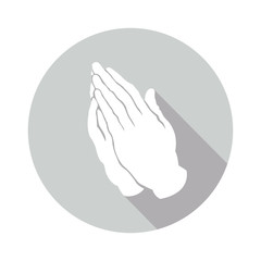 prayer gesture in a gray circle