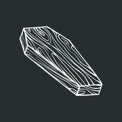 White outline picture of the coffin on a black background