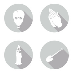 Set of icons for church and grave themes