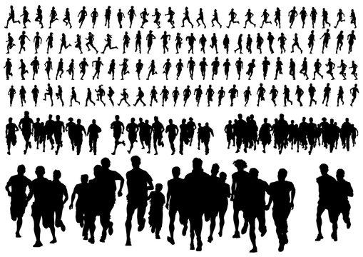 Athletes women nd man in a sporty uniform running a marathon on a white background