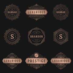 Luxury logos templates set, flourishes calligraphic elegant ornament lines.
