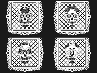 Day of The Dead paper decoration with Skull and ornament. Mexican sugar skull. Vector illustration