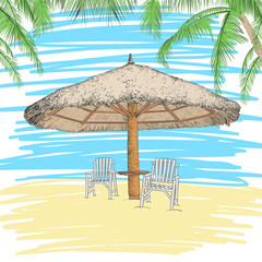 Sketch of parasol and chairs under palms. Vector illustration