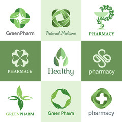 Set of vector logo design template for pharmacies, clinics, medical and health