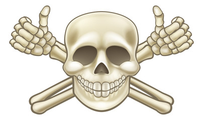 Cartoon Thumbs Up Pirate Skull and Crossbones