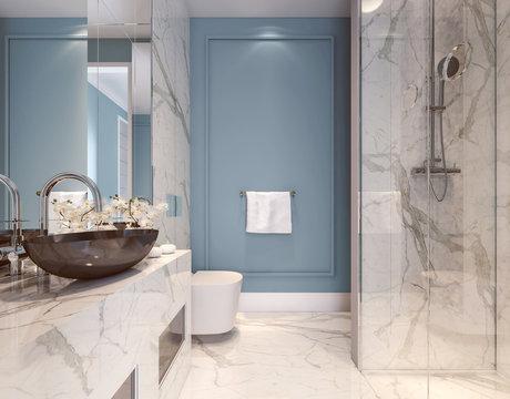 Modern interior design of blue bathroom