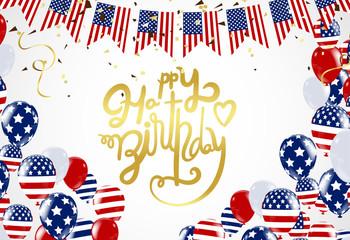 Happy birthday America lettering  Hand drawn invitation design confetti and gift box, design template for birthday celebration