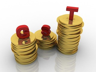 3d rendering Gold coins on gst
