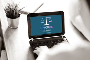 Divorce advice concept on a laptop screen