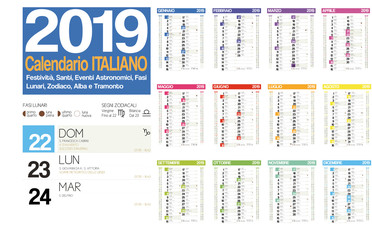 2019 italian calendar with italian holidays, zodiac , saints, moon phases, astronomical events, sunset and sunrise