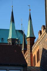 Türme am Rathaus in Lübeck