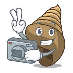 Photographer spiral shell mascot cartoon