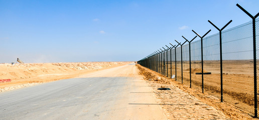 A boundary fencing wall