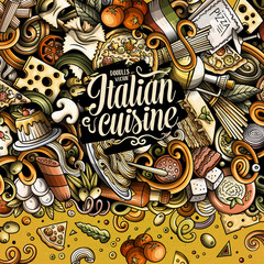 Cartoon vector doodles Italian food frame
