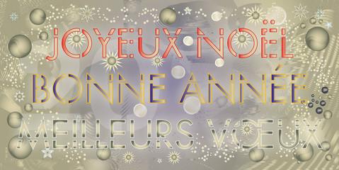 Joyeux Noël, Bonne Année, Meilleurs vœux, en couleurs sur un fond abstrait doré