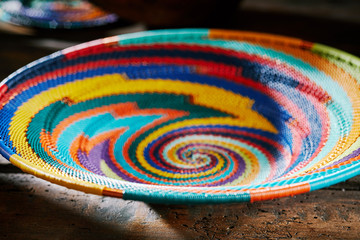 Colourful indigenous woven African bowl