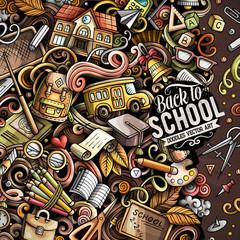 Cartoon vector doodles Back to school frame