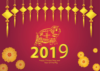 2019 Chinese New Year, of Pig Design for text and greetings card, banners, calendar