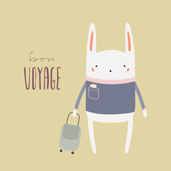 Hand drawn vector illustration of a cute funny bunny with suitcase, lettering quote Bon voyage. Isolated objects. Scandinavian style flat design. Concept for children print, summer holidays.