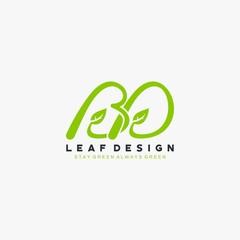 BD letter leaf green logo design vector