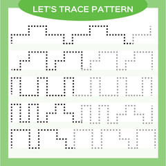 Tracing Lines Activity For Early Years. Special for preschool kids. Worksheet for practicing fine motor skills Tracing dashed lines. Improving skills tasks. Complete the pattern. Green