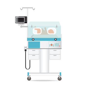 Infant incubator technology with new born baby in a medical center hospital.