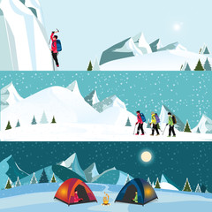 Vector flat banner set of Ice climber
