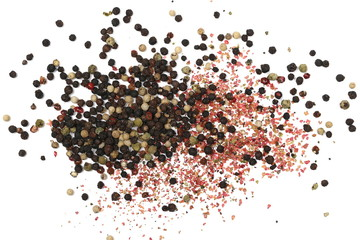 Colorful and unground mixed pepper pile isolated on white background, top view