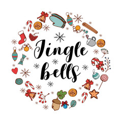 Jingle Bells card with festive items. Holiday frame. Greeting card for New Year and Christmas
