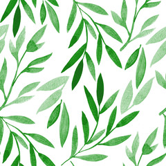 Watercolor hand drawn floral seamless pattern in green tones.