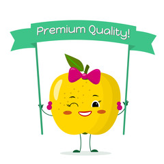 Cute yellow apple cartoon character with a yellow bow and earrings. Smiles and holds a premium quality poster.