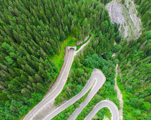 tunnel entrance in forest. aerial view from drone