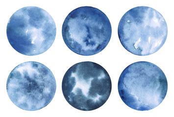 Hand drawn watercolor decor elements. Fantastic moon clip art in bright dark blue colors.