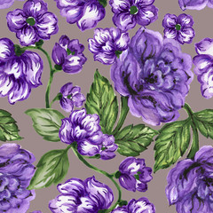 seamless  pattern bouquet rose blue purple flowers and plant